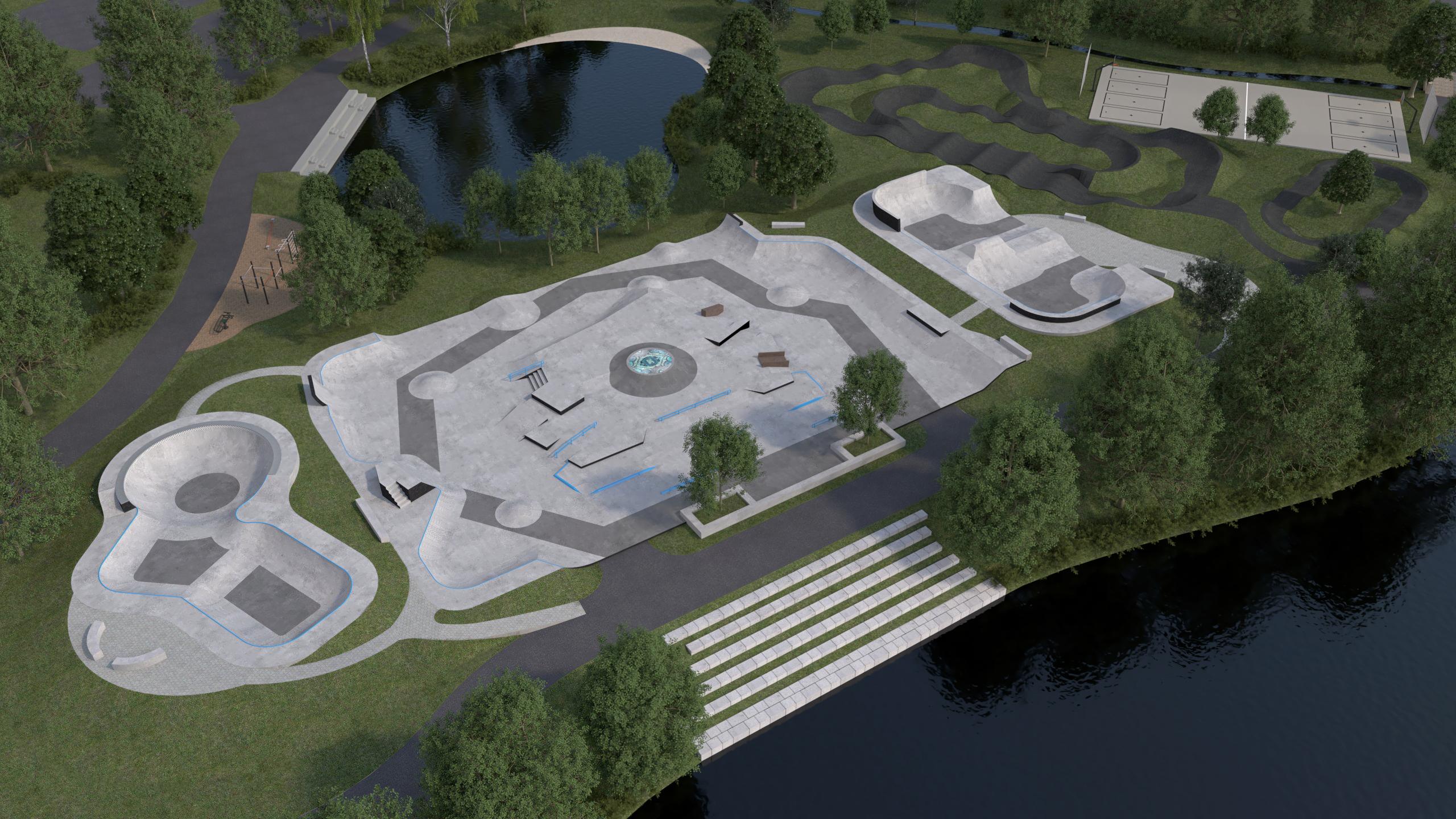 Skatepark Hof aus Vogelperspektive zeigt Street Skatepark, Skate Bowl, BMX Bowl, Pumptrack in einer grünen Parkanlage in Hof an der Saale als 3-D Model